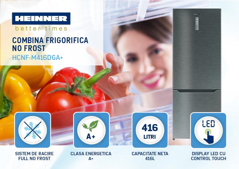 Combina frigorifica Heinner HCNF-M416DGA+ evoMAG